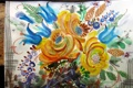 Картинка голубые, букет, желтые, Рисунок, цветы