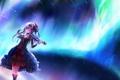 Картинка девушка, скрипка, северное сияние, локоны