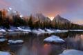 Картинка камни, озеро, деревья, хвойные, горы, зима, арт