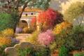 Картинка листья, деревья, цветы, дом, арка, живопись, тропинка