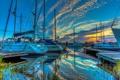 Картинка гавань, облака, небо, вода, бухта, зарево, яхта
