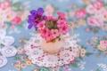 Картинка цветы, нежность, размытость, ваза, салфетка