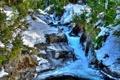 Картинка лес, снег, деревья, река, камни, поток, каскад
