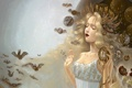 Картинка животные, Девушка, созвездия, светлые волосы