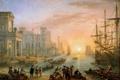 Картинка масло, картина, холст, французский живописец, Клод Лоррен, «Морская гавань при закате дня»