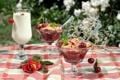 Картинка лето, вишня, бокал, роза, молоко, десерт, крамбл