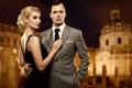 Картинка девушка, вечер, макияж, блондинка, костюм, галстук, парень