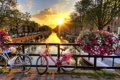 Картинка закат, city bike, canal, Нидерланды, Амстердам, sun, fence