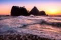 Картинка море, волны, солнце, закат, скалы