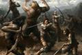 Картинка оружие, люди, меч, доспехи, битва, щит, оборотень