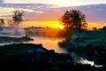 Картинка закат, река, роса, ручей, зоря, вкчер, туман