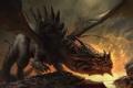 Картинка камни, огонь, дракон, арт