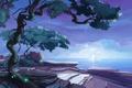 Картинка море, ночь, дерево, луна, арт, нарисованный пейзаж