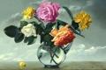Картинка цветы, розы, ваза, живопись, стеклянная ваза, Alexei Antonov, Still Life