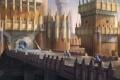 Картинка мост, замок, кони, арт, арка, крепость, всадники