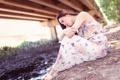 Картинка взгляд, девушка, мост, азиатка