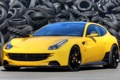 Картинка желтый, фон, тюнинг, Феррари, Ferrari, шины, суперкар