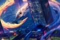 Картинка ночь, город, фантастика, дракон, небоскреб, дома, арт