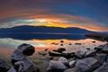 Картинка water, lake, rocks, sunset