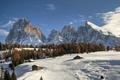 Картинка небо, снег, деревья, пейзаж, горы