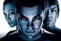 Картинка Закари Куинто, Chris Pine, Star Trek, Звездный путь, белый фон, Zoe Saldana, Зои Салдана