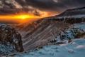 Картинка солнце, облака, снег, закат, горы