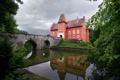 Картинка мост, город, фото, Замок, Czech Republic, Castle Chervena Lhota