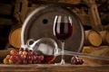 Картинка вино, красное, виноград, бочки, wine, grape