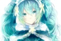 Картинка девушка, снежинки, улыбка, аниме, арт, vocaloid, yuki miku