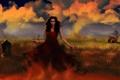 Картинка небо, взгляд, девушка, ресницы, волосы, дома, руки