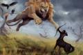 Картинка хищник, лев, арт, нападение, кентавр, стервятники, лук. стрелы