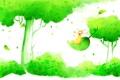 Картинка трава, улыбка, дерево, листва, позитив, гном, колпак