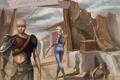 Картинка девушка, мужик, собака, Fallout 3, раб, Работорговцы, Slavers