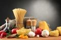 Картинка еда, сыр, перец, помидоры, спагетти, специи, чеснок