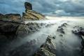 Картинка дымка, скалы, тучи, камни, море