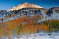 Картинка осень, лес, небо, снег, деревья, закат, горы