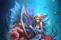 Картинка русалка, арт, арфа, подводный мир, плавники, музыкальный инструмент