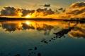 Картинка небо, облака, пейзаж, закат, озеро, природы