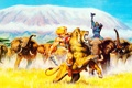 Картинка гора, лев, саванна, герои, слоны, Skeletor, Он-Man