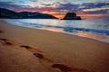 Картинка закат, seascape, море, sand, sunset, песок, sea