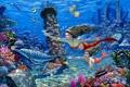Картинка рыбы, кораллы, арт, дельфины, подводный мир, русалки, морское дно