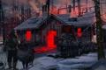 Картинка зима, лес, ночь, дом, фантастика, завод, будущие