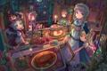 Картинка стол, комната, праздник, луна, девочки, свечи, арт