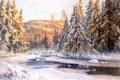Картинка лед, зима, лес, свет, снег, пейзаж, река