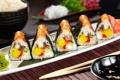 Картинка суши, роллы, начинка, лосось, нори, вассаби