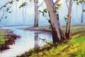 Картинка листья, деревья, природа, река, landscape, artsaus, Australian арт