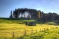 Картинка поле, дом, забор, лето