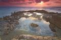 Картинка пейзаж, камни, океан, рассвет, берег