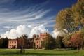 Картинка замок, пейзаж, осень, небо, облака, природа, деревья