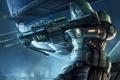Картинка город, оружие, воин, арт, шлем, винтовка, galaxy saga
